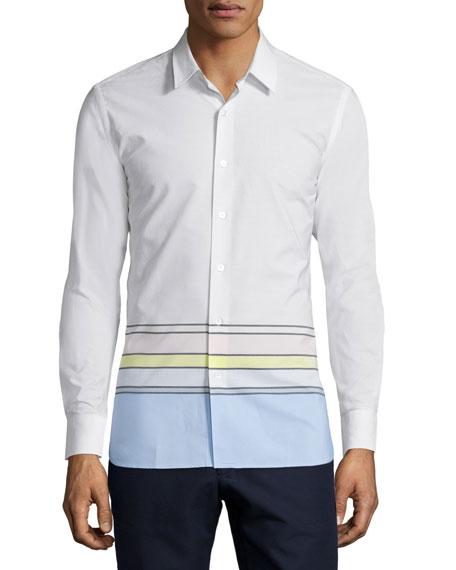 Button-Front Dress Shirt, White/Multi