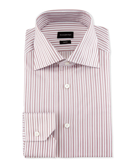 Ermenegildo Zegna Slim-Fit Striped Trofeo Dress Shirt, Pink