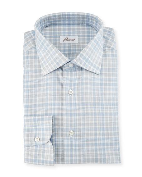 Check Dress Shirt, White/Blue/Gray