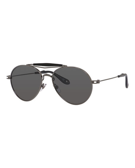 Givenchy Metal Polarized Aviator Sunglasses, Grey