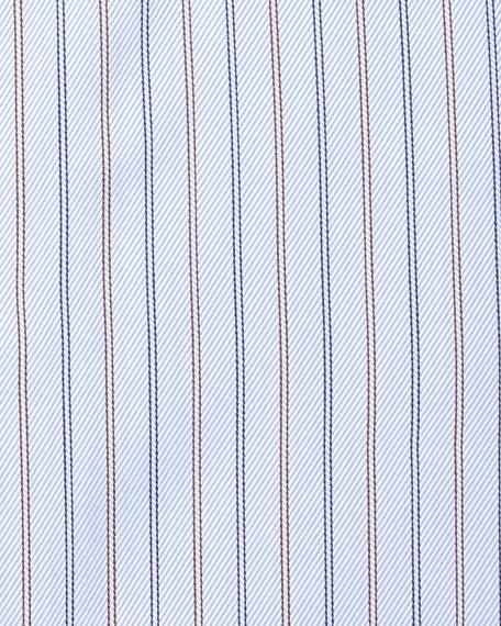 Striped Twill Long-Sleeve Dress Shirt, Light Blue