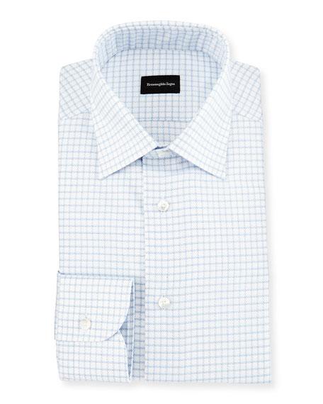 Box Check Twill Dress Shirt, White