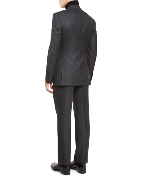 Windsor Base Windowpane Two-Piece Suit, Gray