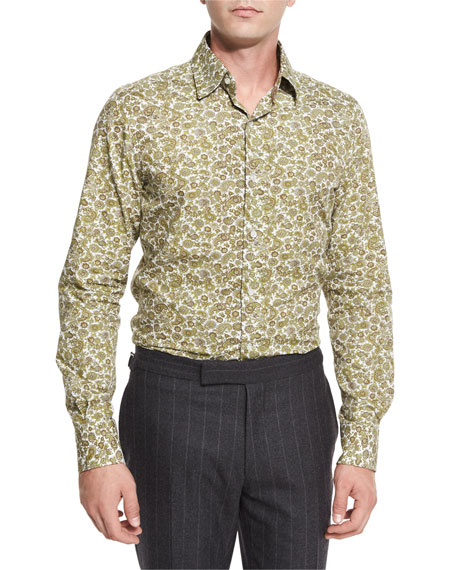 TOM FORD Paisley Floral-Print Shirt, White