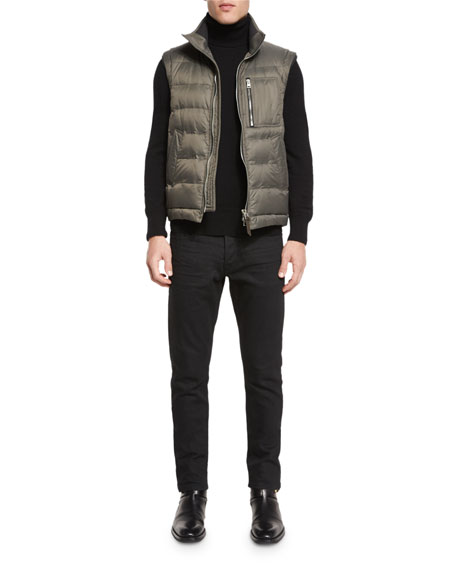 Zip-Pocket Quilted Down Vest, Petrol