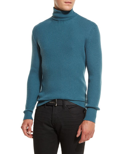 Ribbed Turtleneck Sweater, Slate Blue