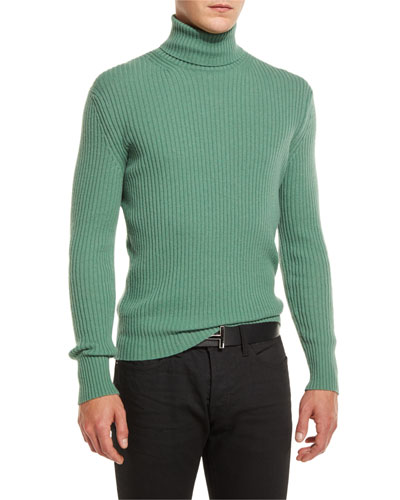 Ribbed Turtleneck Sweater, Green
