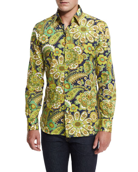 TOM FORD 70s Floral-Print Shirt, Green/Navy
