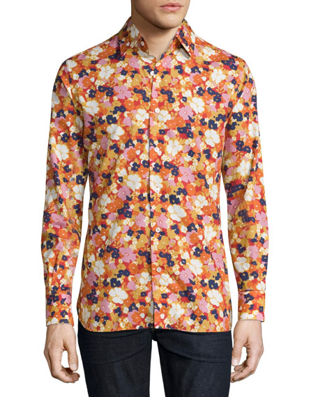 TOM FORD Floral-Print Woven Shirt, White Floral