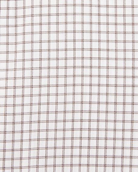 Trofeo Slim-Fit Box-Check Dress Shirt, Gray