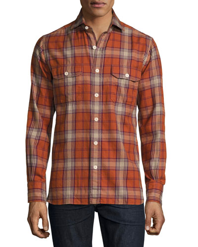 Flannel Check Shirt, Red