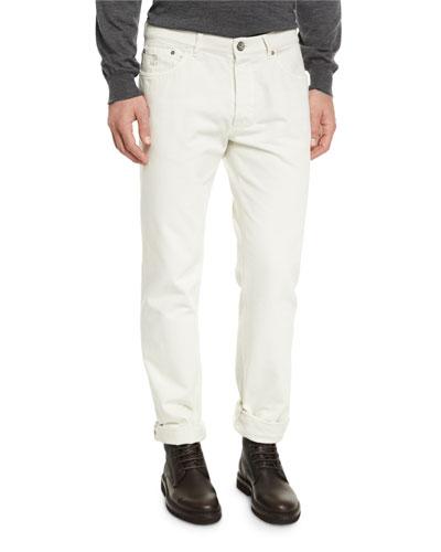 Straight-Leg Denim Jeans, Milk