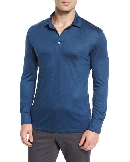 95658c3d High-Performance Wool Long-Sleeve Polo Shirt Aqua