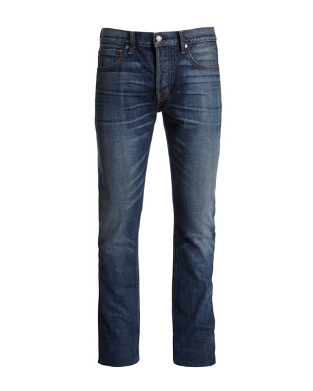 Regular-Fit Selvedge Harrison Wash Denim Jeans, Blue
