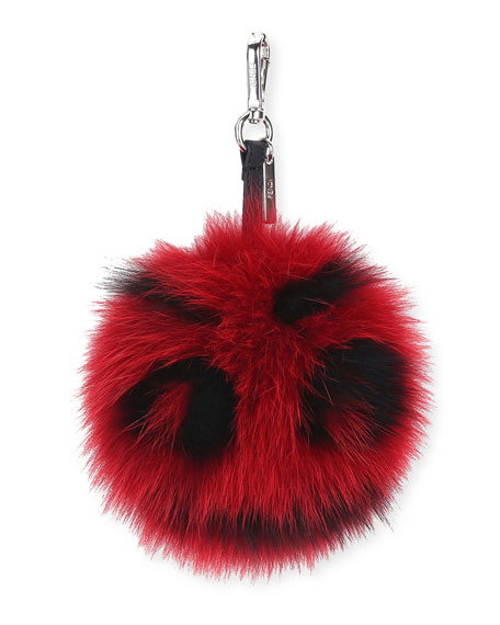 Fur Monster Face Charm, Red