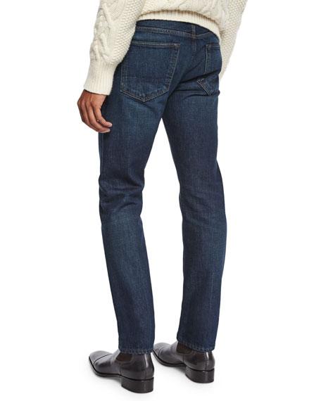 Straight-Fit Selvedge Harrison Wash Denim Jeans, Blue