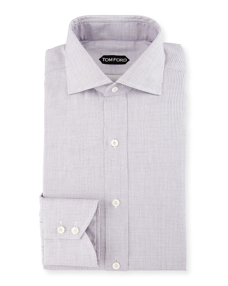 Tiny-Dot Striped Slim Dress Shirt, Pink