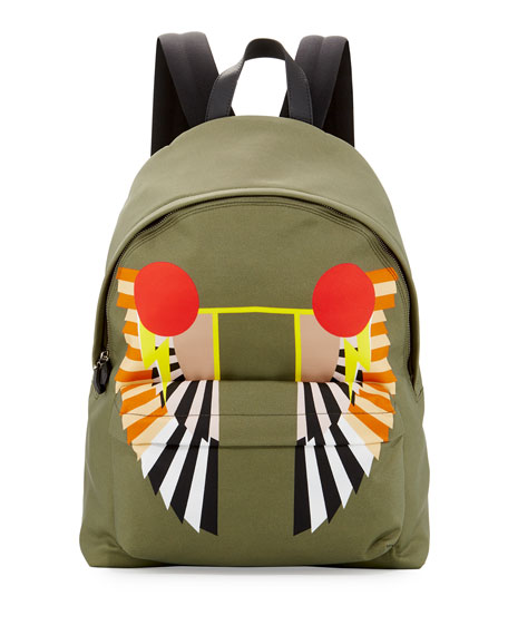 Wings-Print Canvas Backpack, Khaki
