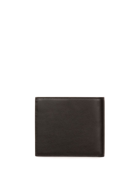 Star-Print Leather Wallet, Black