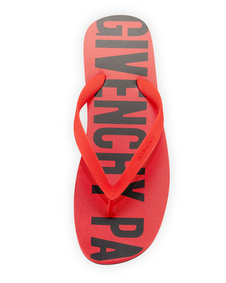 Men's Rubber Logo Flip Flop, Red