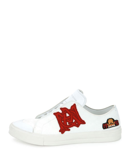 Badges Leather Low-Top Sneakers, White