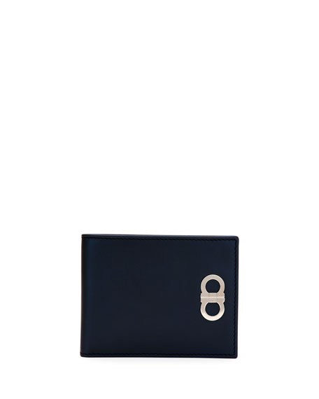 Double-Gancio Bi-Fold Wallet, Blue
