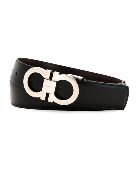 Reversible Leather Gancini Belt Boxed Gift Set, Black/Brown