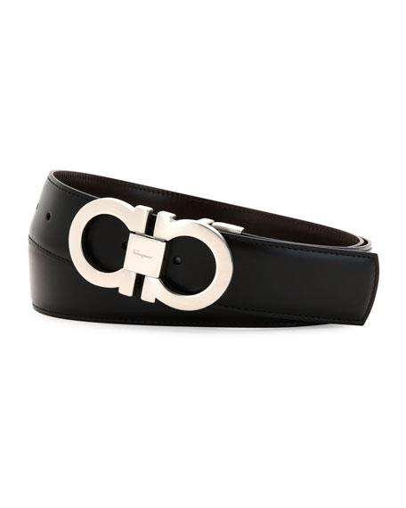 Reversible Leather Gancini Belt Boxed Gift Set, Black/Brown