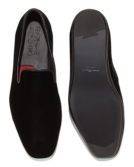 Velvet Venetian Loafer, Black