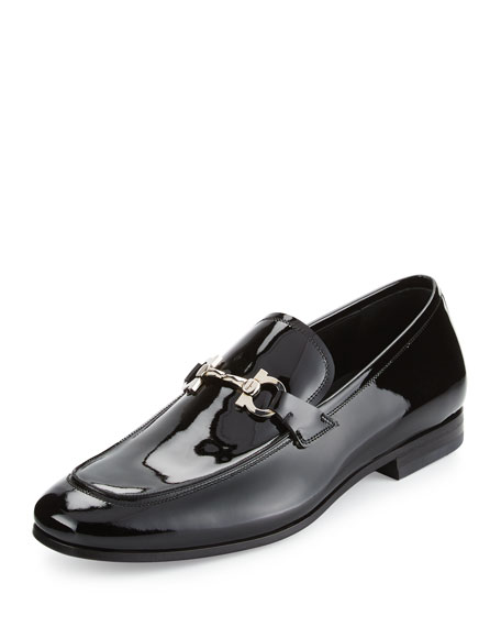 Funes 2 Patent Leather Gancio Loafer, Black