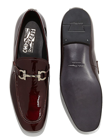 Patent Leather Gancio Loafer, Bordeaux