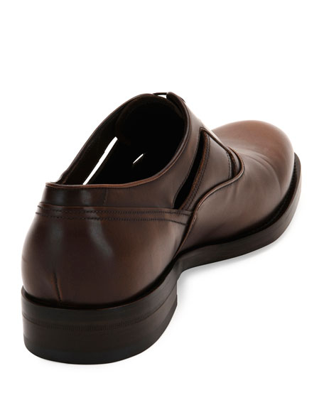 Burnished Calfskin Lace-Up Oxford with Side Cutouts, Brown