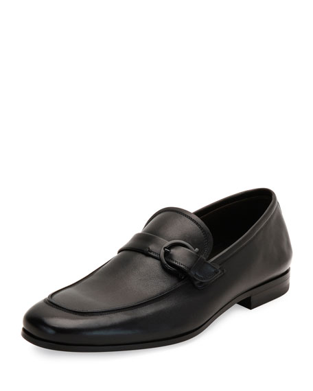 Salvatore Ferragamo Faruk Soft Calfskin Side-Gancio Loafer, Black