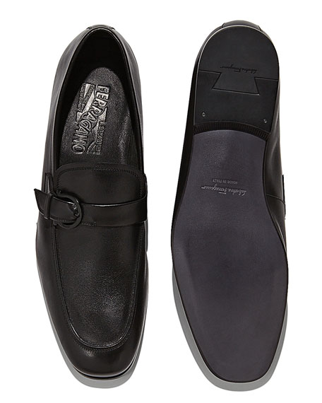 Soft Calfskin Side-Gancio Loafer, Black