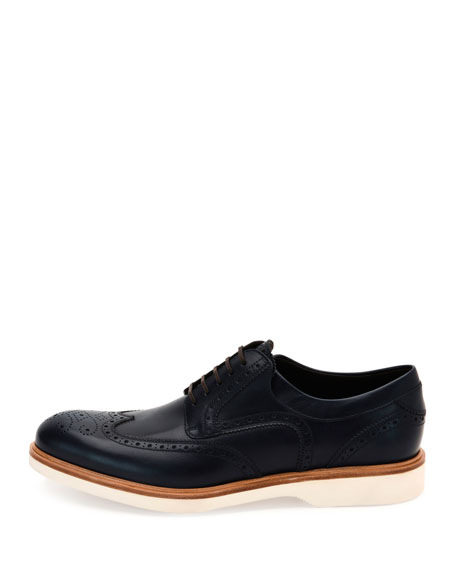 Wing-Tip Lace-Up Oxford w/Contrast Sole, Blue Marine