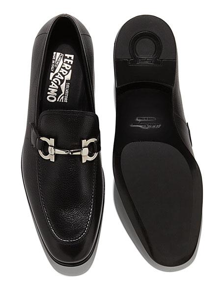Textured Calfskin Gancini Loafer, Black