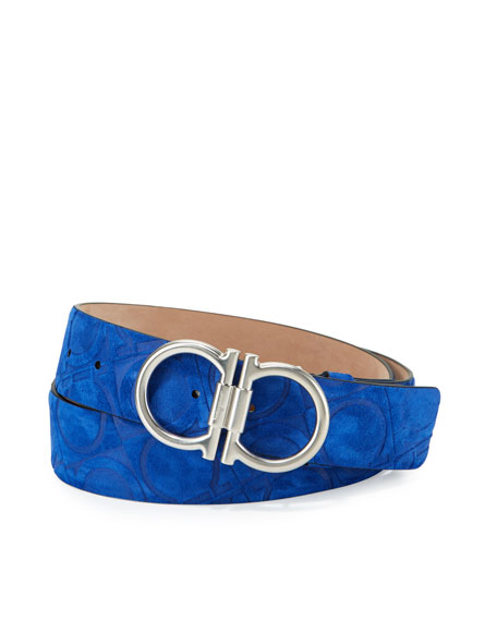 Double-Gancini Embossed Suede Belt, Royal Blue