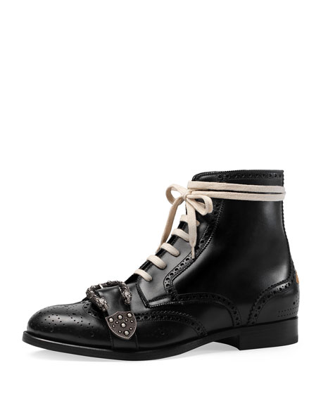 070a9eda850 Gucci Queercore Lace-Up Brogue Boot w Buckle