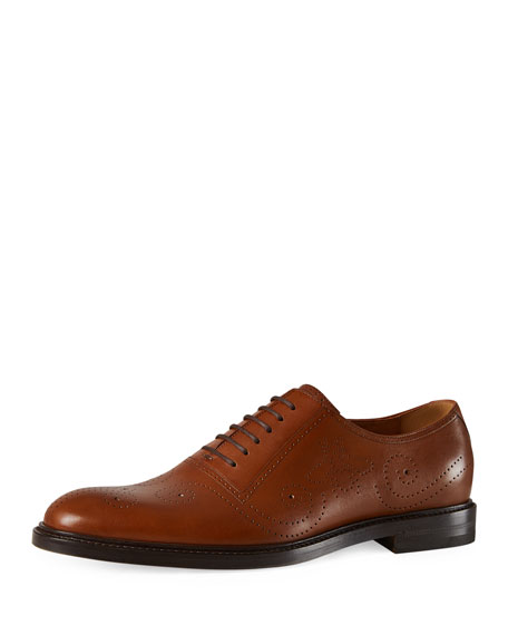 Leather Bee Brogue Lace-Up Oxford, Brown