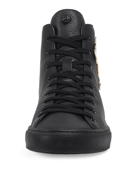 Men's Major High-Top Sneakers w/Tiger Patch, Black