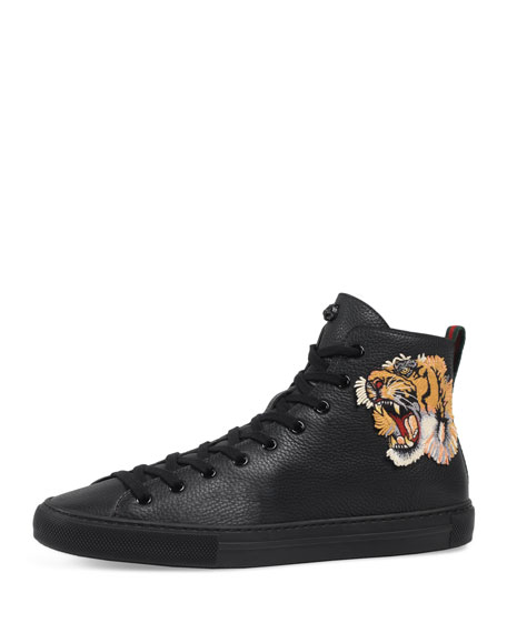 Major High-Top Sneaker w/Tiger Patch, Black