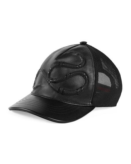 Snake-Embossed Leather Baseball Hat, Black