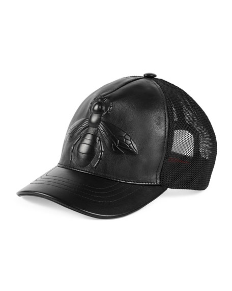 28527fb635e3 Gucci Bee-Embossed Leather Baseball Hat