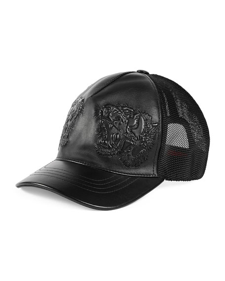 Gucci Tiger-Embossed Leather Baseball Hat 7617e7d8d2e