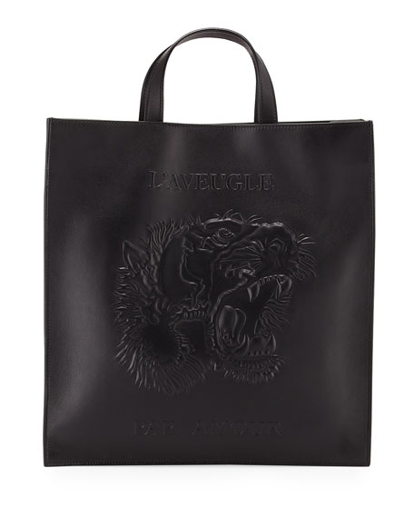 Gucci Men's Embossed Leather L'Aveugle Par Amour Tiger