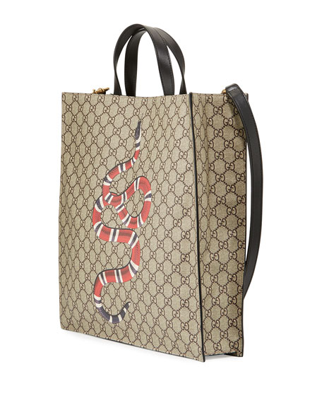 Snake GG Supreme Soft Tote Bag, Beige/Ebony