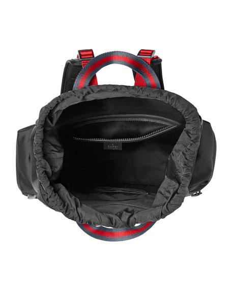 3b2dd8c62ff7f9 Gucci Embroidered Drawstring Backpack, Black