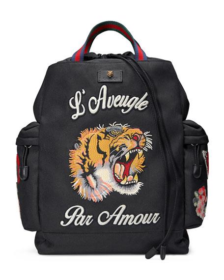 Embroidered Drawstring Backpack, Black