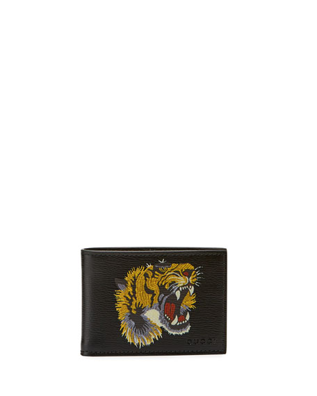 Bestiary Embroidered Tiger Face Leather Wallet, black