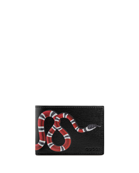 d78266e8caa Gucci Bestiary Snake-Print Leather Wallet